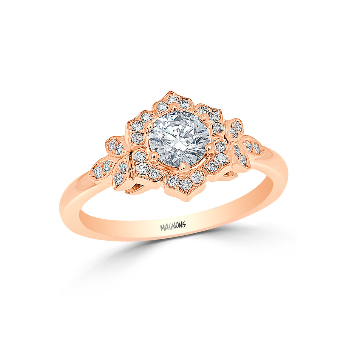 Floral Diamond Engagement Ring 18K yellow gold custom/Conflict free Canadian diamond ring/Yellow gold diamond ring proposal ring promise