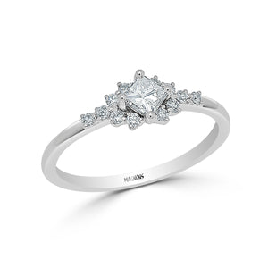 PRINCESS ENGAGEMENT DIAMOND CLUSTER RING