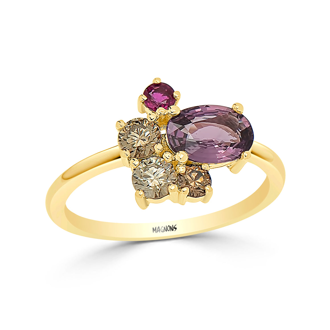 1CT Rare purple sapphire, red ruby & champagne diamond cluster ring/ Natural diamond gemstone ring/sapphire diamond ring 18K rose gold ring