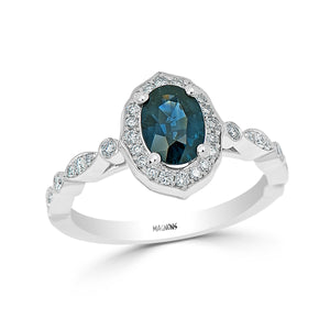 1CT Teal Blue sapphire diamond ring/Teal sapphire engagement ring white gold 14KT/Blue green sapphire diamond ring proposal ring oval
