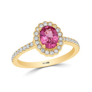 1CT Pink sapphire diamond engagement ring/ Natural pink gemstone ring/genuine pink sapphire diamond ring 18K rose gold