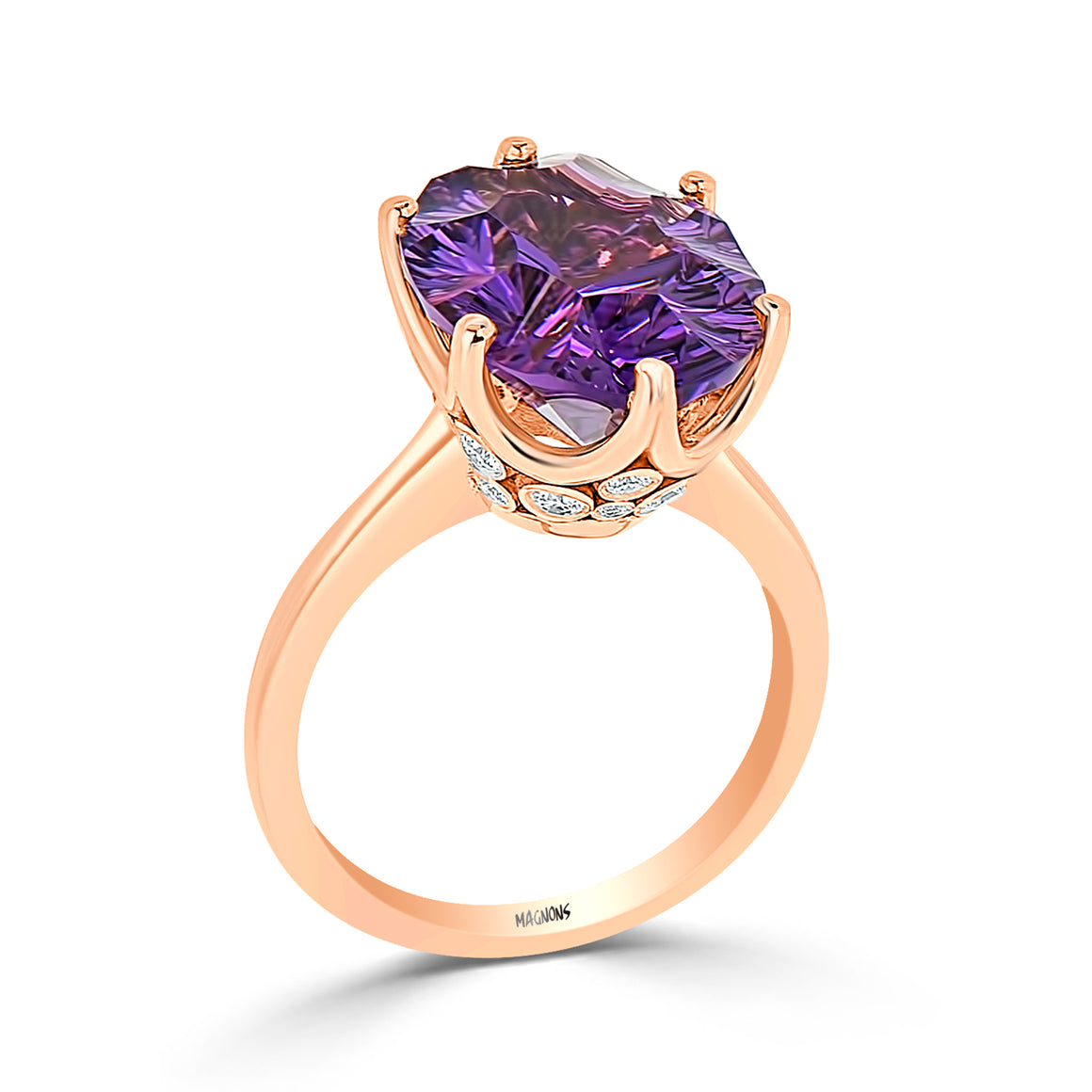 7.10CT Natural Deep Purple Amethyst & Diamond Ring 18k rose gold/Gemstone Diamond ring/Oval amethyst diamond ring