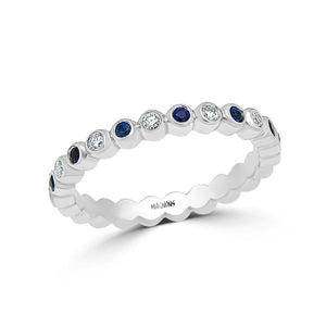 0.25CT Blue sapphire & 0.35CT diamond wedding band eternity/genuine blue sapphire diamond wedding jewellery 18K white gold