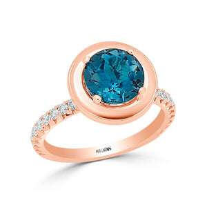 2.50CT London Blue Topaz & diamond engagement ring/ Natural topaz conflict free diamond ring 18K white gold ring