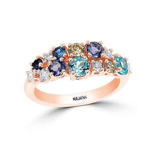 CLUSTER GEMSTONE & DIAMOND RING