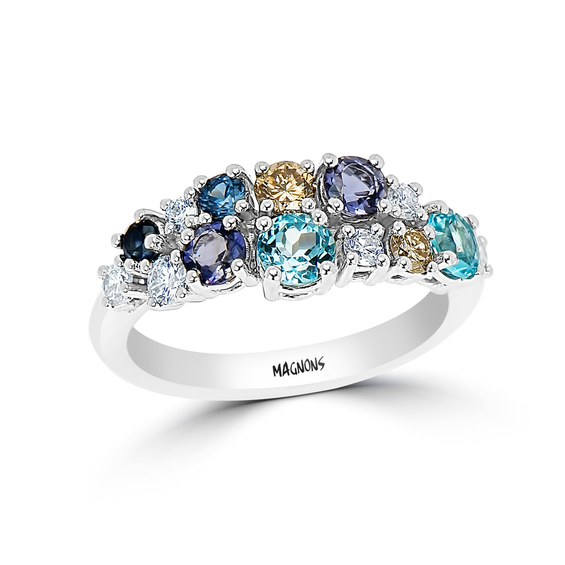 Cluster Gemstone & Diamond ring 18KT white gold Blue Diamond ring Topaz Tanzanite Sapphire ladies ring
