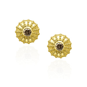1CT Champage Natural Diamond earrings 18KT Yellow Gold Round Design Diamond earrings