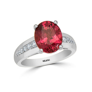 3.20CT Natural Deep Pink Tourmaline & Diamond ring 18K Yellow Gold Statement Cocktail ring