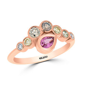 Pink Pear Shape Sapphire & Champagne Diamond ring evil eye ring 18k rose gold designer ring