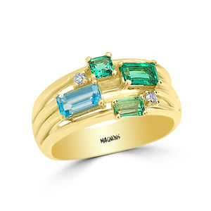 1.11CT Natural Colombian Emerald and Natural Topaz Diamond ring Gemstone ring Emerald ring 18k yellow gold