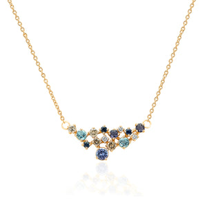 Cluster Gemstone & Diamond necklace Sapphire ladies necklace