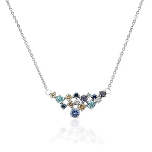 Cluster Gemstone & Diamond necklace 18KT white gold Blue Gemstones Diamond Topaz Tanzanite Sapphire ladies necklace
