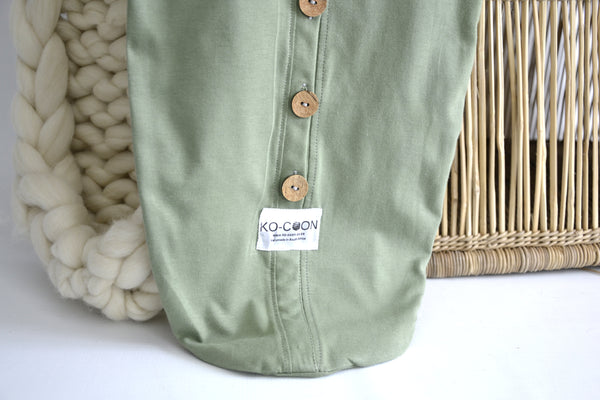 Cocoon Swaddle - Cotton (with buttons) SAGE GREEN