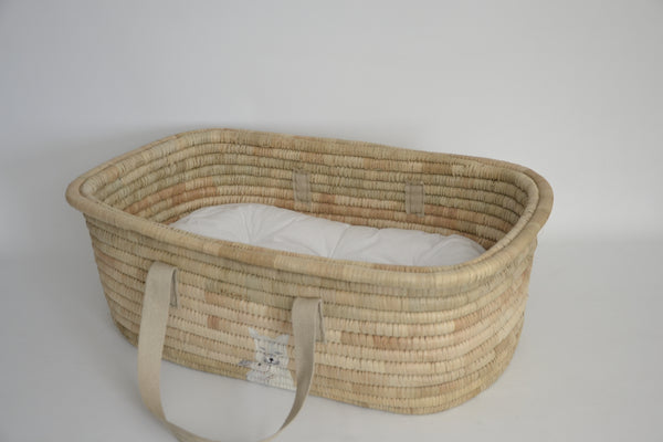 KO-COON Bunny Tail Moses basket - best friends: foxy and bunny (Made To Order)