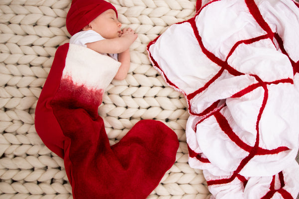 Dreamy Christmasy blanket - merino wool & cotton muslin