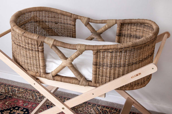 "KO-COON ""Cross"" bamboo Moses basket /  bassinet SET"
