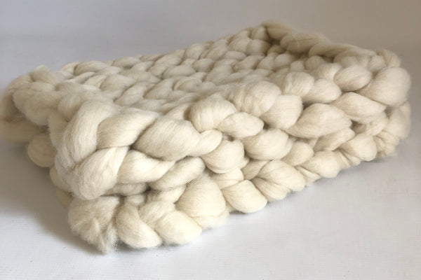 Merino Wool Chunky Knit Baby Padding - Natural (80x50cm)