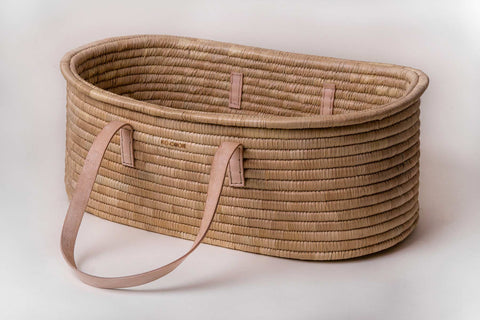 Moses Basket Ko-coon Timeless - Nude Leather handles (PRE ORDER 4 weeks lead time)