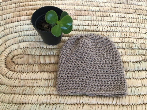 Merino Baby Hat - Natural (0 - 4m) - Fawn (boy/girl)