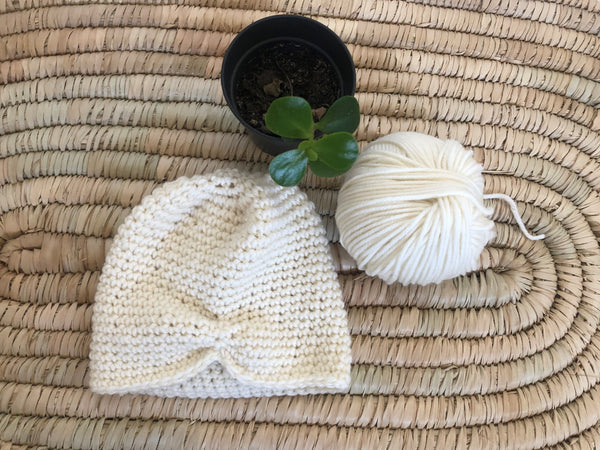 Merino Baby Hat - Natural (0 - 4m) - Milk white (boy/girl)