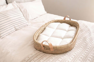 Changing basket Timeless collection - LEATHER handles - with cotton changing mat (approx 45X75cm)