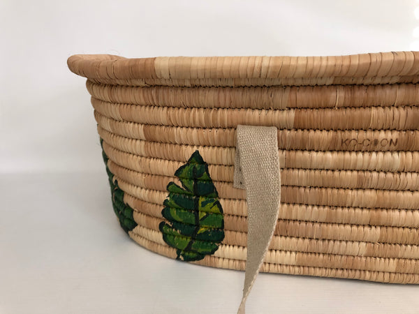 KO-COON Moses basket - green leaves (twins size)