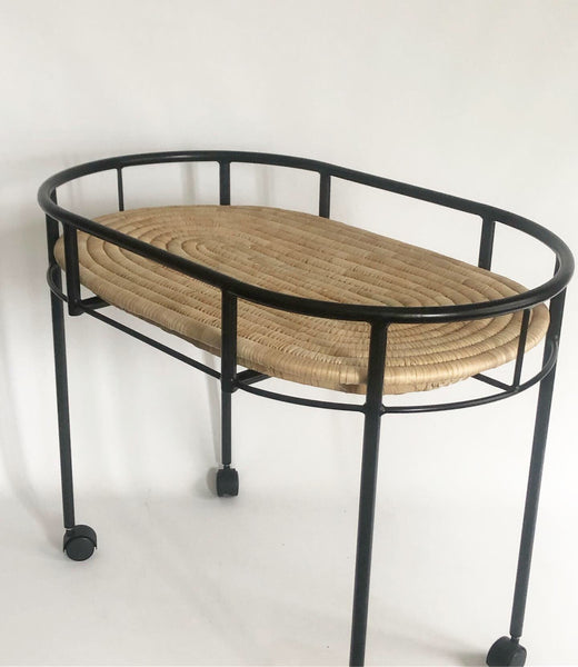 BLACK Steel frame Moses basket stand / Changing station / Serving table (with wheels, w/o base)