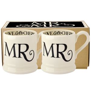 Emma Bridgewater Black Toast Mr & Mr Half Pint Mug, Set of 2, Earthenware
