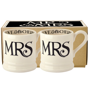 Emma Bridgewater Black Toast Mrs & Mrs Half Pint Mug, Set of 2, Earthenware