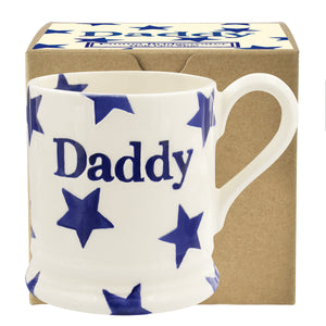 Emma Bridgewater Blue Stars Daddy Half Pint Mug, New 2018 Design