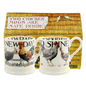 Emma Bridgewater Hen and Toast Rise & Shine Half Pint Mug, Set of 2, Gift Boxed