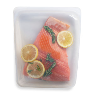 Stasher Plastic-Free Reusable Food Storage Bag with Airtight Seal, 100% Silicone, Large Size, Clear