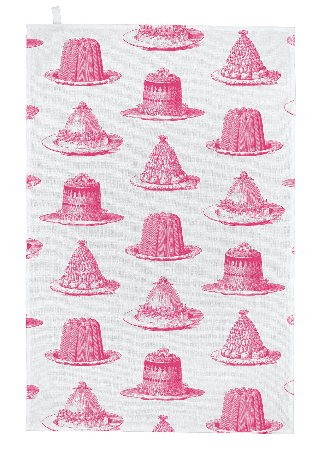 Thornback & Peel Tea Towel, Pink Jelly and Cake Design, 100% Cotton