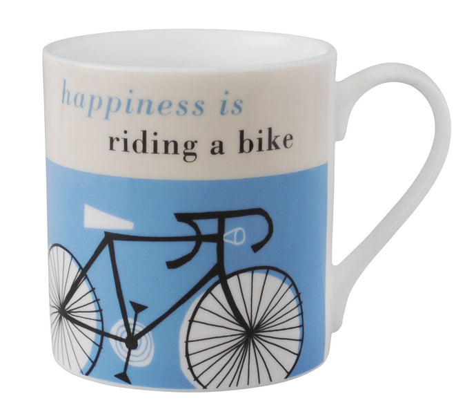 Repeat Repeat 'Happiness Is Riding A Bike' Large Bone China Mug, Blue