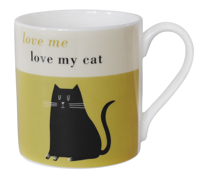 Repeat Repeat Happiness 'Love Me Love My Cat' Black Cat Large China Mug, Olive