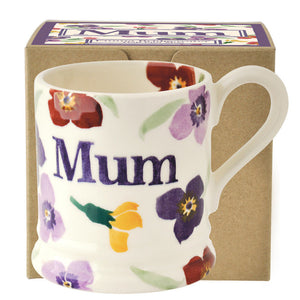 Emma Bridgewater Wallflower 'Mum' Earthenware Half Pint Mug, Gift Boxed