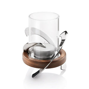 Robert Welch Helix Tealight Holder Stainless Steel, Glass & Walnut. Gift-Boxed