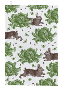 Thornback & Peel Tea Towel, Rabbit and Cabbage Design, 100% Cotton