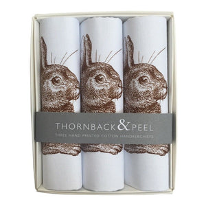 Thornback & Peel Handkerchiefs Set of 3 Rabbit Design, 100% Cotton, Gift Boxed