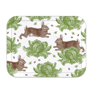 Thornback & Peel Large Tray, Rabbit and Cabbage Design, Birch Veneer