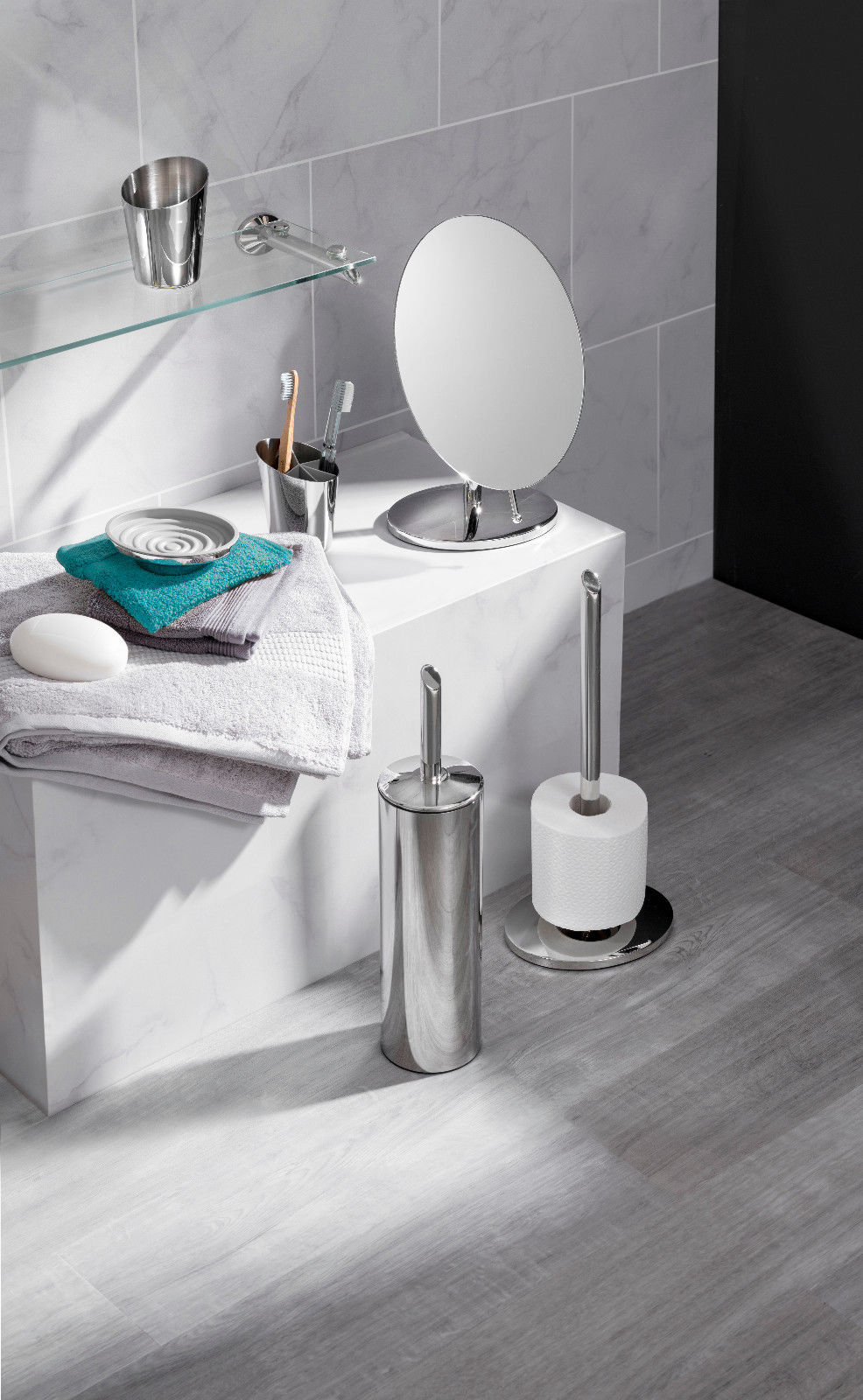 Robert Welch Oblique Bathroom Range - Mirror Toilet Roll Holders ...