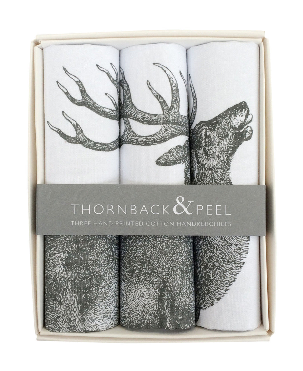 Thornback & Peel Handkerchiefs Set of 3 Stag Design, 100% Cotton, Gift Boxed