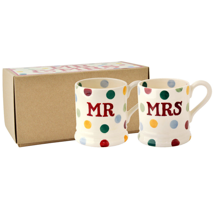 Emma Bridgewater Polka Dot 'Mr & Mrs' Earthenware Half Pint Mug Set