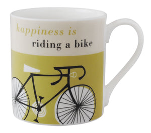Repeat Repeat /'Happiness Is Riding A Bike/' Large Bone China Mug Olive