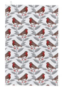 Thornback & Peel Tea Towel, Robin & Holly Design, 100% Cotton