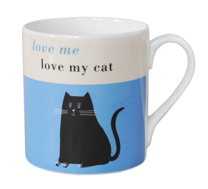 Repeat Repeat Happiness 'Love Me Love My Cat' Black Cat Large China Mug, Blue
