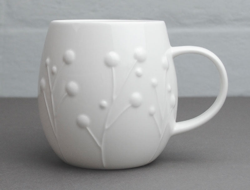 Repeat Repeat Large Plum White Bone China Mug, 1 Pint - Flax