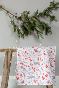Sam Wilson Studio Robin & Reindeer Cotton Tea Towel