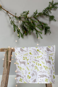 Sam Wilson Studio Robin & Reindeer Cotton Tea Towel, Grey and Green