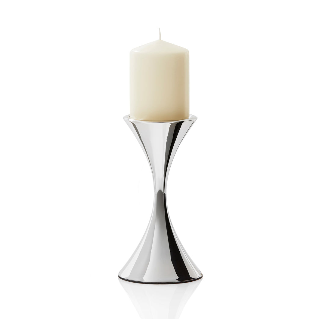Robert Welch Arden Bright Stainless Steel Medium Pillar Candleholder - Gift-Boxed